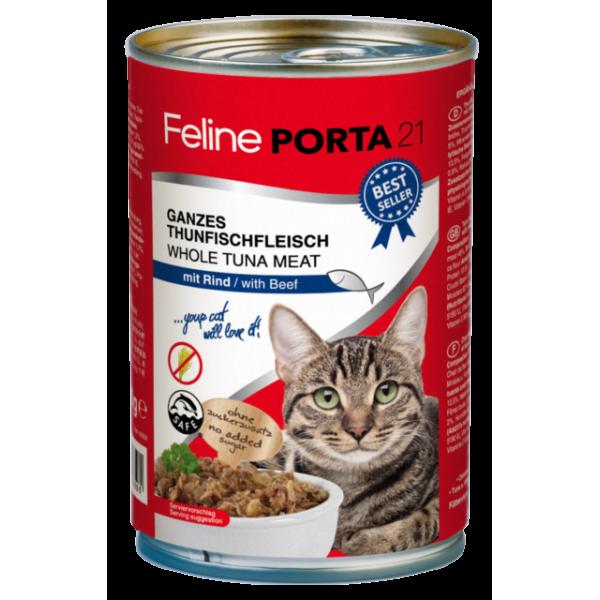 feline-porta-21-alimentacion-natural-humeda-atún-ternera-sin-cereales-400gr